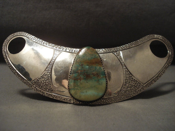 Advanced Innovative Vintage Navajo Kee Joe Benally (d.) Turquoise Native American Jewelry Silver Collar