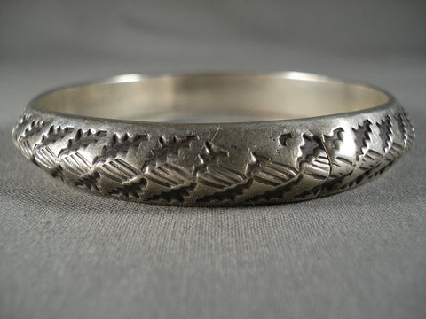 Advanced Native American Jewelry Silver Technique Handmade Vintage Navajo Native American Jewelry Silver Bangle Bracelet-Nativo Arts