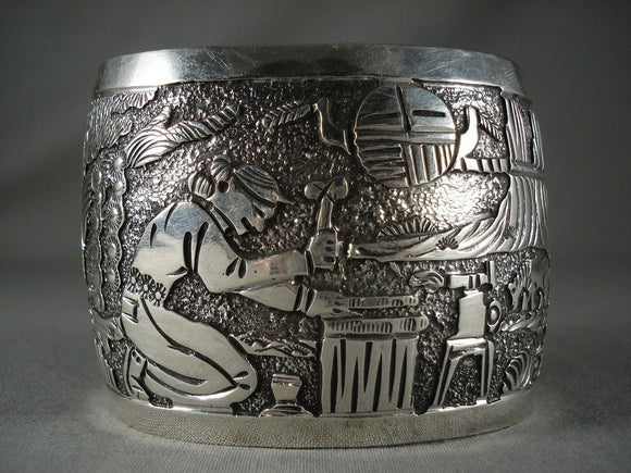 Advanced Native American Jewelry Silver Work 'Extreme Detail' Vintage Navajo Native American Jewelry Silver Bracelet-Nativo Arts