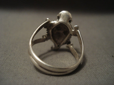 Advanced Native American Jewelry Silver Work Famous Artist Benny Yazzie Toad Native American Jewelry Silver Ring-Nativo Arts
