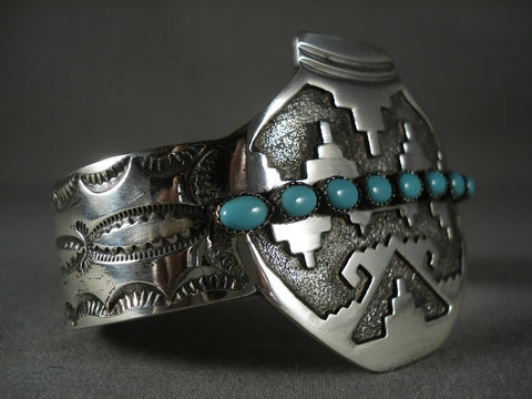 Advanced Native American Jewelry Silver Work Modernistic Navajo 'Native American Jewelry Silver Pot' Turquoise Bracelet-Nativo Arts