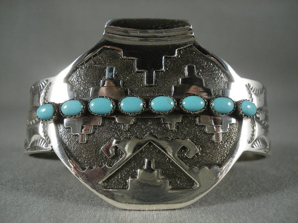 Advanced Native American Jewelry Silver Work Modernistic Navajo 'Native American Jewelry Silver Pot' Turquoise Bracelet