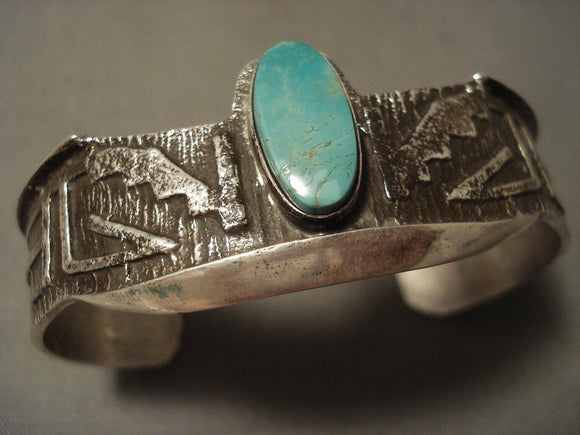 Advanced Native American Jewelry Silver Work Navajo Natural Turquoise Native American Jewelry Silver Bracelet-Nativo Arts