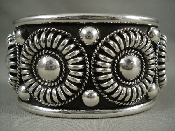 Advanced Native American Jewelry Silver Work Vintage Navajo 'Native American Jewelry Silver Wheel' Bracelet