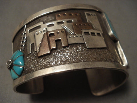 Advanced Native American Jewelry Silver Work Vintage Navajo 'Pueblo' Turquoise Cactus Native American Jewelry Silver Bracelet-Nativo Arts