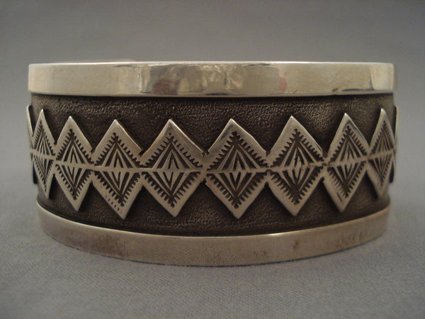 Advanced Native American Jewelry Silver Work Vintage Navajo 'Teepee Dream' Native American Jewelry Silver Bracelet