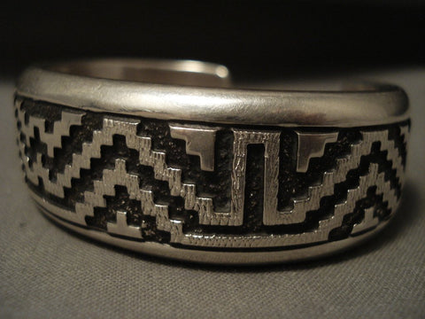 Advanced Native American Jewelry Silver Work Vintage Navajo Thick Geometric Native American Jewelry Silver Bracelet-Nativo Arts