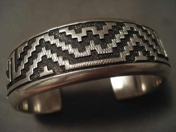 Advanced Native American Jewelry Silver Work Vintage Navajo Thick Geometric Native American Jewelry Silver Bracelet