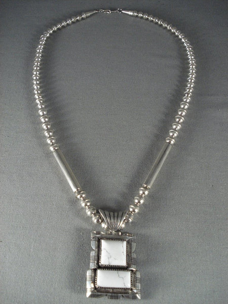 Advanced Native American Jewelry Silver Work Vintage Navajo White Buffalo Turquoise Native American Jewelry Silver Necklace
