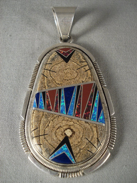 Advanced Stone To Stone Work Vintage Navajo Native American Jewelry jewelry Opal Wood Pendant