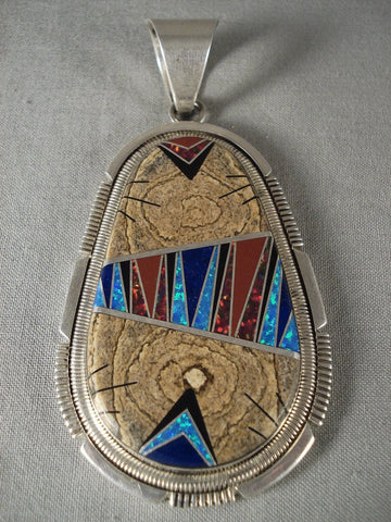 Advanced Stone To Stone Work Vintage Navajo Native American Jewelry jewelry Opal Wood Pendant-Nativo Arts