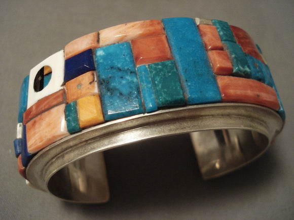 Advanced Stone Work Vintage Navajo Native American Jewelry Silver Bracelet-Nativo Arts