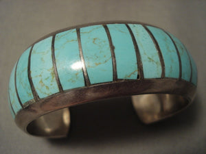 Advanced Stone Work Vintage Navajo Number 8 Turquoise Native American Jewelry Silver Bracelet-Nativo Arts