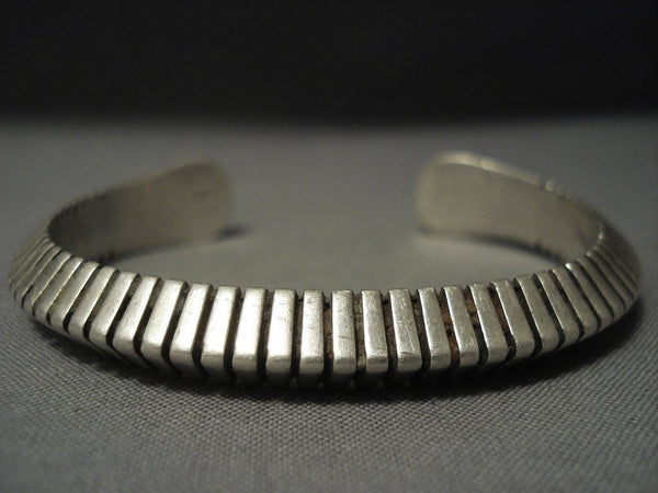 Advanced Technique Channeled Vintage Navajo Sterling Native American Jewelry Silver Bracelet