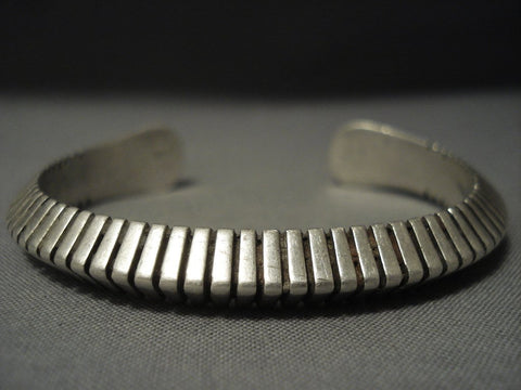 Advanced Technique Channeled Vintage Navajo Sterling Native American Jewelry Silver Bracelet-Nativo Arts