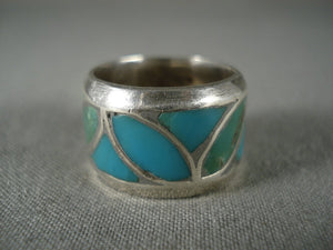 Advanced Turquoise Flower Works Vintage Native American Jewelry Silver Ring-Nativo Arts