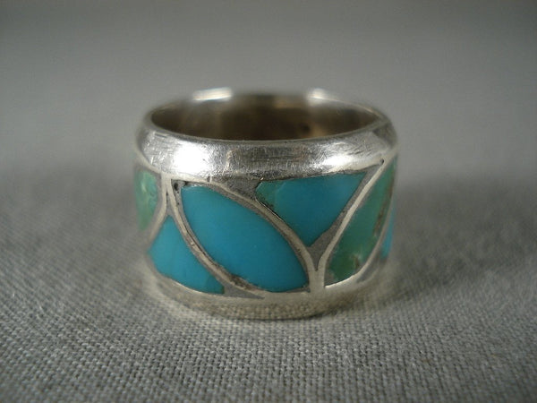 Advanced Turquoise Flower Works Vintage Native American Jewelry Silver Ring