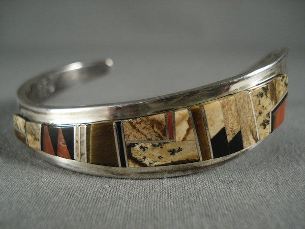 Advanced Work Vintage Navajo 'Wood Sampling' Native American Jewelry Silver Bracelet