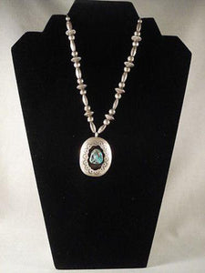 "ADVANCED WORKMANSHIP VINTAGE NAVAJO """"HOGAN BEAD"""" SILVER NECKLACE old vtg-Nativo Arts"