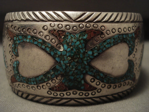 Advaqnced Technique 'Protruding Center' Turquoise Coral Native American Jewelry Silver Bracelet-Nativo Arts