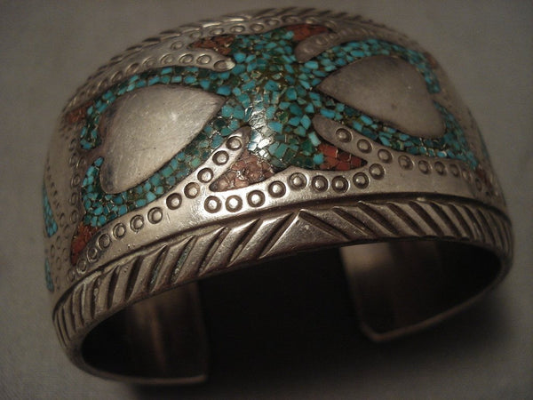 Advaqnced Technique 'Protruding Center' Turquoise Coral Native American Jewelry Silver Bracelet