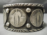 So Heavy Thick Native American Sterling Silver Coin Bracelet Cuff