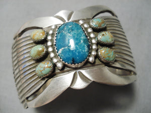 Incredible Vintage Native American Navajo Mountain & Royston Turquoise Sterling Silver Bracelet