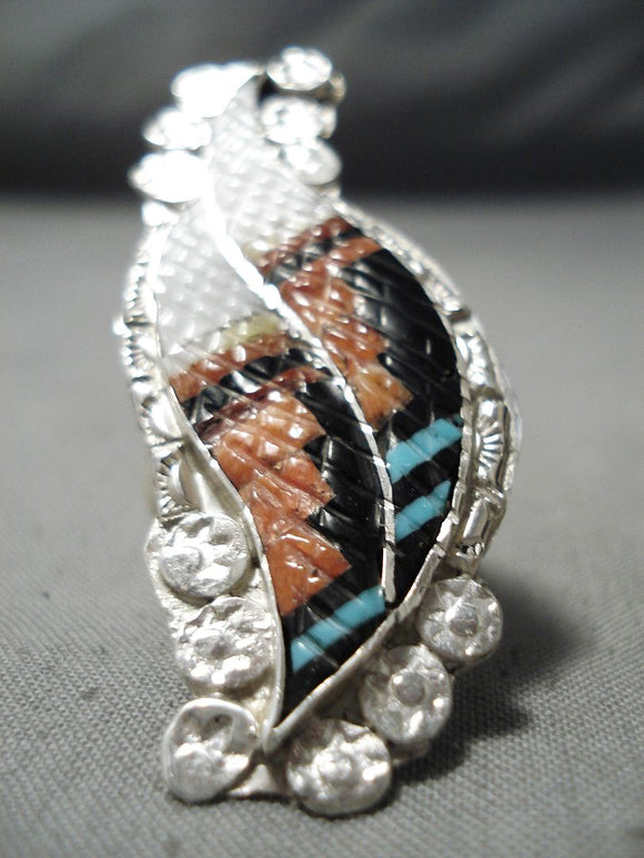 Impressive Vintage Native American Zuni Turquoise Sterling Silver Ring Old