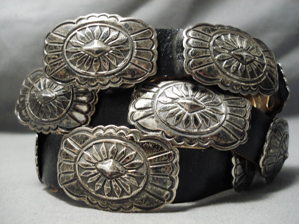 Authentic Vintage Native American Navajo Sterling Silver Hand Tooled Concho Belt Old