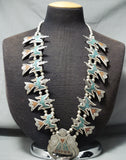 Authentic Vintage Native American Navajo Turquoise Coral Sterling Silver Squash Blossom Necklace