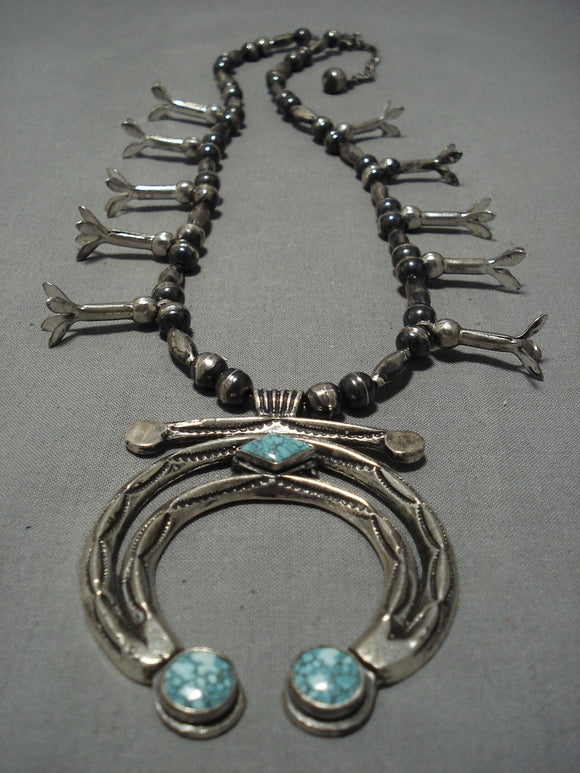 Vintage Native American Navajo Spiderweb Turquoise Sterling Silver Squash Blossom Necklace Old