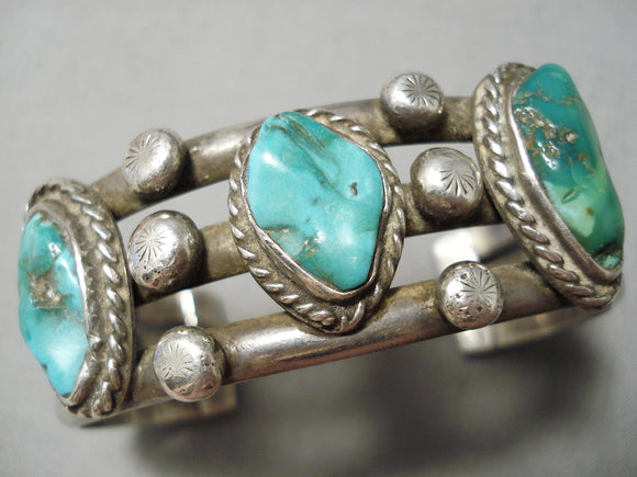 Heavy Thick Sturdy Vintage Native American Navajo Turquoise Sterling Silver Bracelet Old