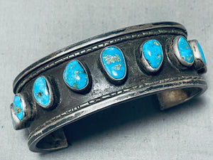 Rare Vintage Native American Navajo Pilot Mountain Turquoise Sterling Silver Bracelet Old