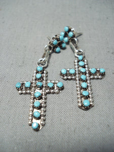 Exquisite Native American Zuni Sleeping Beauty Turquoise Sterling Silver Cross Earrings