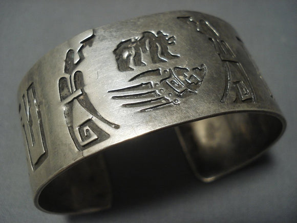 All Sterling Native American Jewelry Silver Vintage Navajo Overlay Bracelet Old Cuff-Nativo Arts