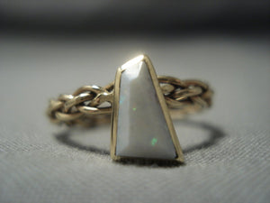 Amazing 14k Gold Vintage Navajo Native American Jewelry jewelry Opal Ring Old-Nativo Arts