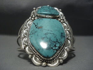 Amazing Blue Diamond Turquoise Sterling Silver Vintage Navajo Native American Jewelry jewelry Bracelet-Nativo Arts