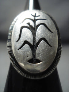 Amazing Ed Lomhongua Sterling Native American Jewelry Silver Cornstalk Ring Old Pawn-Nativo Arts