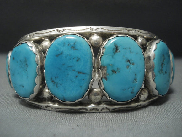 Amazing Jim Frank Vintage Navajo Turquois Sterling Native American Jewelry Silver Bracelet Old-Nativo Arts