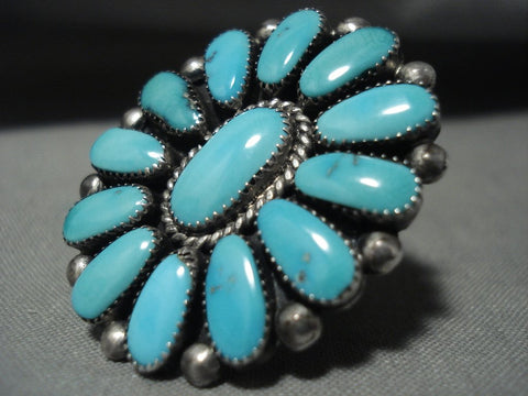 Amazing Julie Lahi 'Natural Turquoise Vintage Zuni Native American Jewelry Silver Ring-Nativo Arts