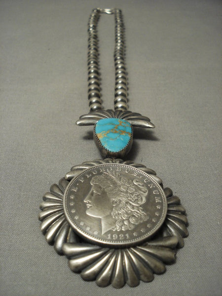 Amazing! Navajo Coin Native American Jewelry Silver Vivid Blue Royston Turquoise Sterling Necklace