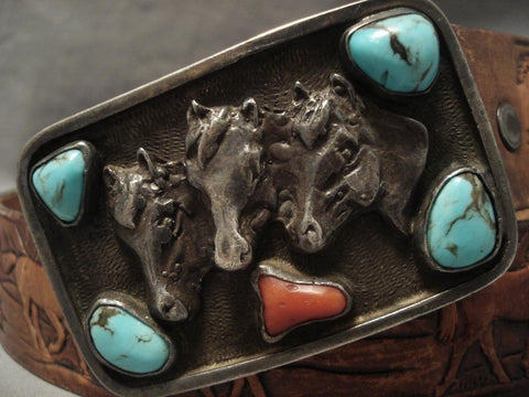 Amazing Old Navajo Bisbee Turquoise Native American Jewelry Silver Belt-Nativo Arts