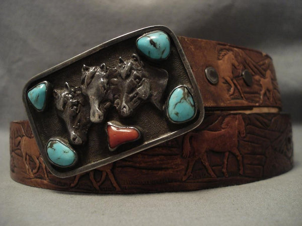 Amazing Old Navajo Bisbee Turquoise Native American Jewelry Silver Belt