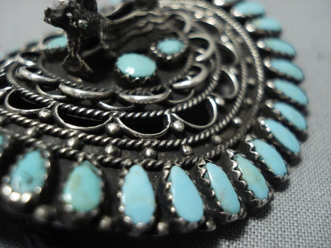 Amazing Sterling Silver Eagle Vintage Native American Jewelry Navajo Turquoise Bolo Tie Old-Nativo Arts