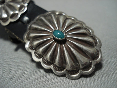 Amazing Vintage Native American Jewelry Navajo Sterling Silver Green Turquoise Concho Belt Old-Nativo Arts