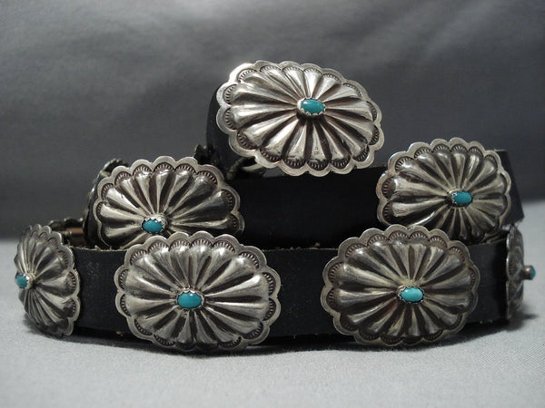 Amazing Vintage Native American Jewelry Navajo Sterling Silver Green Turquoise Concho Belt Old