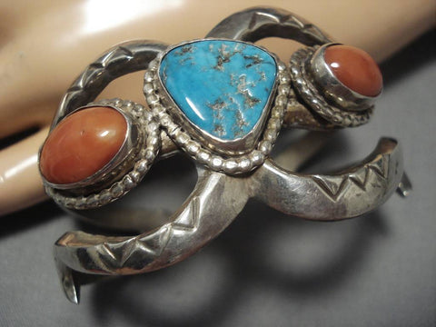 Amazing Vintage Native American Navajo Coral Turquoise Sterling Silver Bracelet Old-Nativo Arts