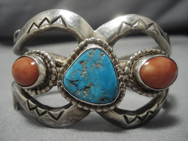 Amazing Vintage Native American Navajo Coral Turquoise Sterling Silver Bracelet Old