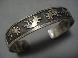 Amazing Vintage Native American Navajo Kokopelli Dancing Sterling Silver Bracelet Old-Nativo Arts
