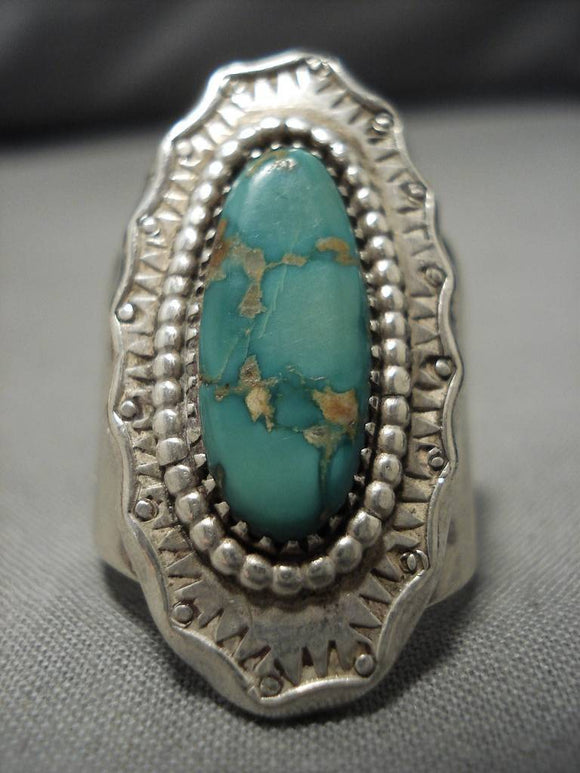 Amazing Vintage Native American Navajo Royston Turquoise Domed Sterling Silver Ring Old-Nativo Arts